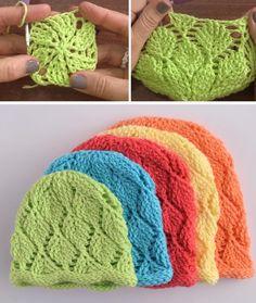 How to Make a Beanie - Multiple Colors, Diamond Stitch - Design Peak Crochet Santa, Crochet Tote, Crochet Bunny, Knit Or Crochet, Crochet Stitches, Free Crochet, Crochet Christmas, Crochet Beanie Hat, Crochet Jacket