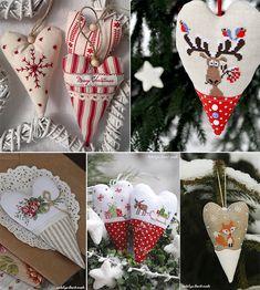 Новогодние сердечки с вышивкой