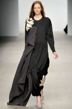 Central Saint Martins Fall 2012: Norwegian designer Anne Karine Thorbjornsen made her London Fashion Week debut in February 2012 in the Central Saint Martins MA show. Graduating from the fashion college with a distinction, she was also awarded its Armani bursary.