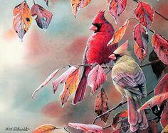 Songbirds in Garden  -  Watercolor Paintings of Cute Little Birds  - Cardinals…