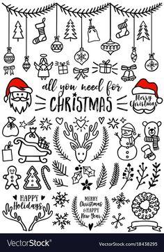 Christmas Sketch, Christmas Doodles, Christmas Images, Christmas Design, Christmas Art, Christmas Icons, Christmas Banners, Easy Christmas Drawings, Vector Christmas