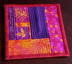 Bright Mug Rug Quilted Patchwork Handmade by AllThatPatchwork Great colors