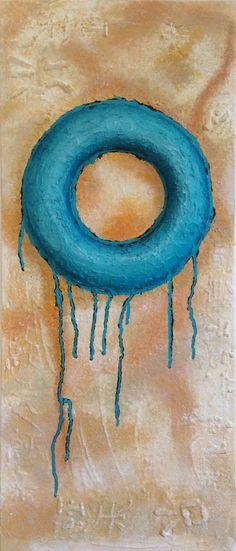 Gemälde in Acryl auf einer 30 x 70 x 1,5 cm Leinwand. Gestaltung im Ancient Style mit einer harmonischen Farbauswahl von Erd- und Meerestönen. Hochwertiges, handgefertigtes Unikat, signiert vom Künstler und behandelt mit glänzendem Gemäldefirnis. http://www.tomglasauer.de/visual-artist/sea-circle/ #Palettenmesser #PaletteKnife #Gemälde #Kunst #Bild #abstrakt #modern  von #TomGlasauerVisualArtist