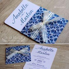 Caixa Rústica: Convite Vintage Classic  ▫️ Inove com a Caixa Rústica e surpreenda convidados!  ∴ Solicite seu orçamento! www.caixarustica.com  #convite #casamento #classico #classic #invitation #wedding #papelaria #vintage #floral #blue #azul
