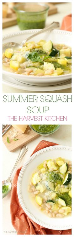 This nourishing Summer Squash Soup is chockfull of chunky pieces of zucchini, yellow squash, canellini beans, parmesan cheese and basil pesto, and it comes together in just 30 minutes.