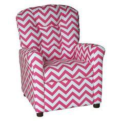 Brazil Furniture 4-Button Back Childrens Recliner - Zig Zag Pattern Pink - 400-ZIG ZAG PINK