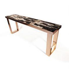 www.hudsonfurnitureinc.com PETRIFIED WOOD CONSOLE    Design by Barlas Baylar  Petrified Wood Top