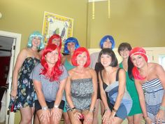 """""""wiggin out"""" bachelorette party.  Wig-themed Bachelorette Party - FUN!  I had no idea that people really did wig nights...I thought it was my idea!"""