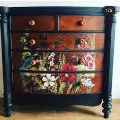 Lovingly renovated now fronted Victorian chest of drawers hand painted in Amsterdam green.and black wax . beautified with an iron orchid designs furniture transfer called midnight garden Hand Painted Furniture, Funky Furniture, Refurbished Furniture, Paint Furniture, Upcycled Furniture, Furniture Projects, Furniture Makeover, Furniture Decor, Furniture Design
