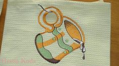 "Kitchen towel, waffle cotton 45x 70cm/ 17,5"" x 27,5"".  Measures wide 45 cm, long 70 cm - wide 17,5 inch long 27,5 inch  Fabric 100%cotton, waffle.  Embroidery is the hanger loop in the middle towel."