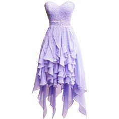 ORIENT BRIDE Elegant Beaded Sweetheart Chiffon Irregular Prom Dresses... ($150) ❤ liked on Polyvore featuring dresses, purple dress, beaded dress, sweetheart dresses, chiffon prom dresses and purple prom dresses