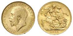 South Africa Georg V., 1910-1936.1 £, 1925, SA, Fried. 5 KM 626 Schlumberger 21, uncirculated  Dealer Auction house Ulrich Felzmann  Auction Starting Pri...
