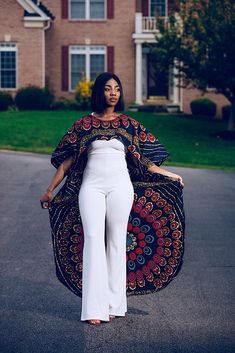 Gorgeous floating kimono cape is a show stopper. Turn heads as you float in in this beautiful kimono cape. Can be worn on top of your favorite jumpsuit, dress, swim suit or with shirt and pants. African Inspired Fashion, Latest African Fashion Dresses, African Dresses For Women, African Print Dresses, African Print Fashion, Africa Fashion, African Attire, African Wear, Ankara Fashion