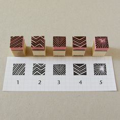 Cool handmade mini rubber stamps of lines and by CassaStamps