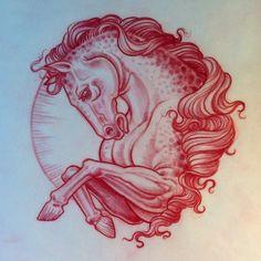 .@Jason Minauro | Evening sketch. horse tattoo
