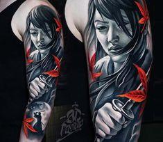 Samurai Girl tattoo by A D Pancho