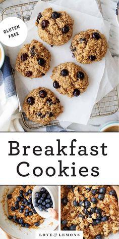 Oatmeal Breakfast Cookies Recipe - Love and Lemons Oatmeal Breakfast Cookies, Breakfast Cookie Recipe, Cookie Recipes, Vegan Breakfast, Breakfast Ideas, Sweet Breakfast, Breakfast Recipes, Blueberry Cookies, Blueberry Oatmeal
