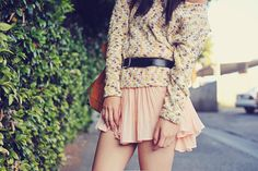 chunky sweater + delicate skirt