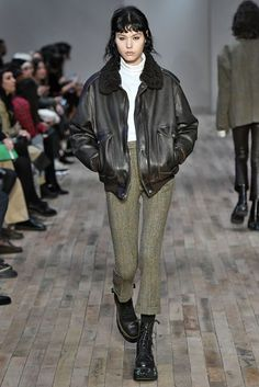 R13 brought some grunge tomboy vibes to the NYFW Fall 2017 runway. A cool leather jacket, fitted pants, and combat boots set the tone.