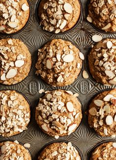 These vegan banana, oat, and chia seed muffins are nutritious, tasty, and easy to pack on-the-go for breakfast or a snack!