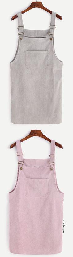 Lovely corduroy pocket overall dress.