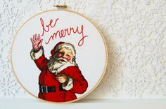 Santa embroidery hoop decoration