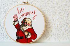 Santa embroidery hoop decoration