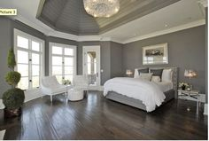 the bedroom, color blocked grey and white walls with dark hardwood floors and white bedding...all of it!