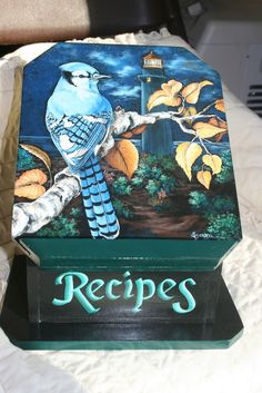 HAND PAINTED LIGHTHOUSE BLUE JAY RECIPE BOX