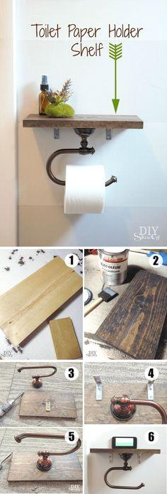 Diy Toilet Paper Holder, Paper Holders, Bathroom Shelves Over Toilet, Bathroom Storage, Bathroom Small, Bathroom Cabinets, Bathroom Toilets, Bathroom Organization, Kitchen Small