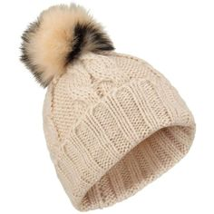 60fc3f202068d0 Miss Selfridge Nude/Black Fur Pom Beanie hat ($25) ❤ liked on Polyvore