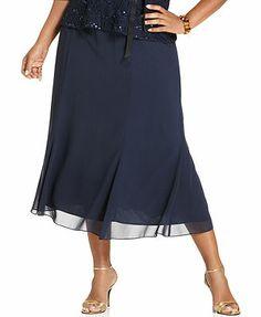 Alex Evenings Plus Size Skirt, Chiffon Tea-Length