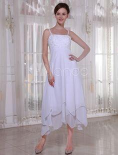 White Satin And Chiffon Empire Waist Wedding Dress - Milanoo.com    @Tammy Tarng Blades