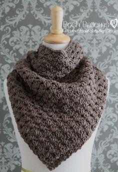 Crochet PATTERN - Crochet Triangle Scarf Pattern - Infinity Scarf - Cowl