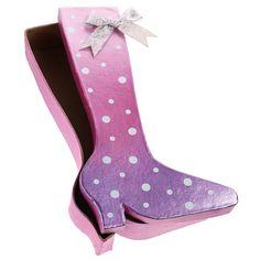Hauska kenkärasia on käsitelty pinkillä ja violetilla Inka Gold -vahalla. Koristeena rusetti ja kimalletarroja.