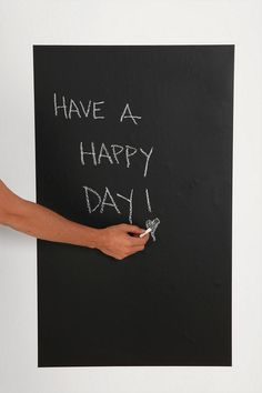 peel and stick chalkboard wall decal! genius! i want one for my kitchen and for my office.