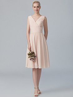 V-neck Chiffon Dress; Color: Blush; Sizes Available: 2-26W, Custom Size; Fabric: Chiffon