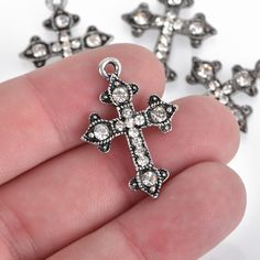2pcs Large Pendant Open Hollow Flower Cross Charms with 16mm Blank Tray