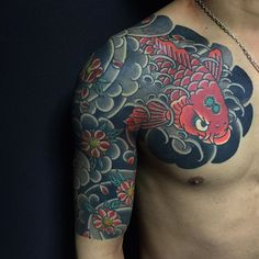 Koi and Sakura half sleeve with chest panel finished 鯉と桜 五分かいな完成