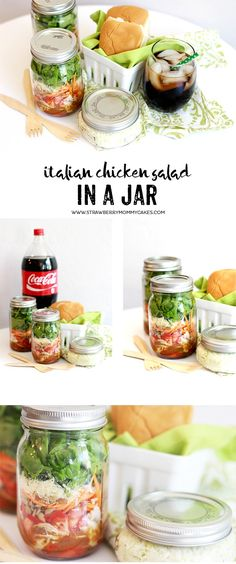 This easy Italian Chicken Salad in a Jar Recipe can help keep your fridge stocked all week! Prepare a few on Sunday and you're good to go! #EffortlessMeals #ad