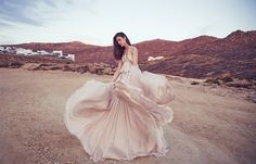 """Romantic bridal vibes: Silk chiffon Houghton NYC """"Phoenix"""" Gown in blush shot for Farewell Fiance"""