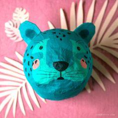 Paper Mache Projects, Paper Mache Crafts, Art Projects, Paper Mache Head, Paper Mache Mask, Animal Masks, Animal Heads, Diy For Kids, Crafts For Kids