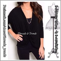 "Drape front Blouse Trendy drape front blouse with lace detail on back. Oversized dolman sleeves. Fits busts up to 50"", length 30"". Made of rayon and spandex. Pair with your favorite Cami. Colors oatmeal and black size S, M, L, XL Threads & Trends Tops"