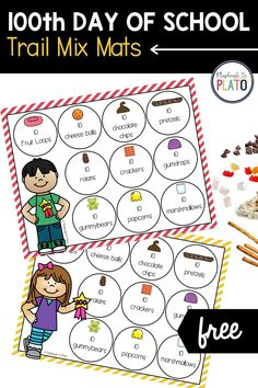 Looking for 100th day of school activities? Our 100th day of school trail mix mats are a great way to celebrate! For preschoolers, they're a fun way to practice counting to ten. For kindergarteners and first graders, they're a helpful visual for learning about skip counting and making groups of ten (a step toward multiplication).