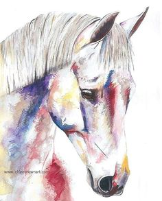Watercolour portrait horse contemporary painting artwork www.chloebrownart.com