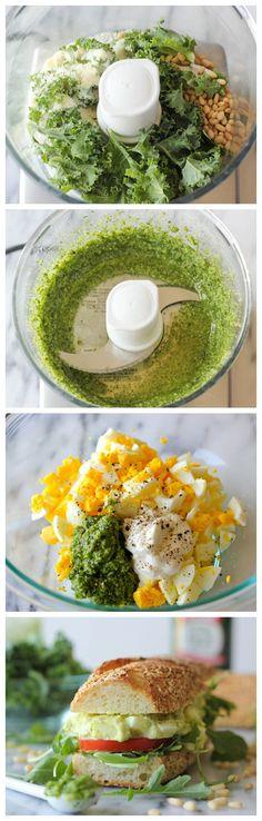 Kale Pesto Egg Salad #healthy #kale #pesto