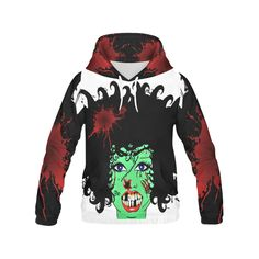 ZinZi the Zombie white Women's All Over Print Hoodie (USA Size) (Model H13).ZinZi the Zombie