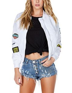 Women's Quilted Lightweight Jackets - HaoDuoYi Womens Classic Cotton Blend Quilted Jacket Short Bomber Coat Jacket >>> You can get more details by clicking on the image.