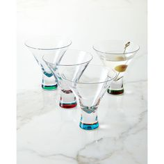 DKNY Martini Glasses (73 AUD) ❤ liked on Polyvore featuring home, kitchen & dining, drinkware, clear, colored martini glasses and dkny