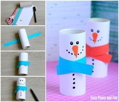 Paper Roll Snowman Craft - Winter Crafts for Kids - Easy Peasy and Fun Winter Crafts For Kids, Winter Kids, Crafts For Kids To Make, Diy Crafts For Kids, Crafts To Sell, Arts And Crafts, Easter Crafts, Christmas Crafts, Candle Holders Wedding
